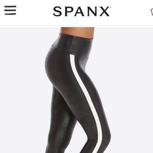 NWT Spanx faux leather track stripe legging - 2XL